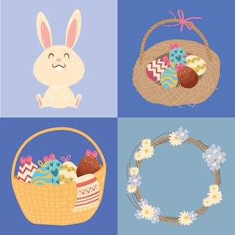 Happy easter celebration card with rabbit and eggs in baskets illustration design