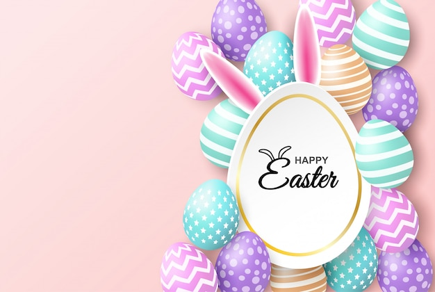 Happy easter celebration. colorful easter egg on pink soft background