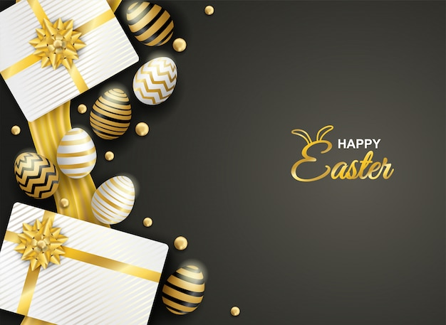 Happy easter celebration. golden and white easter egg and gift box on black background.