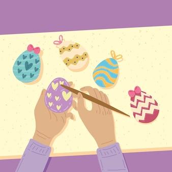 Счастливой пасхи праздник руки крашеные яйца дизайн иллюстрации