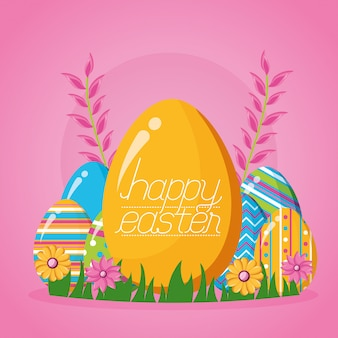 Happy easter celebration illustration
