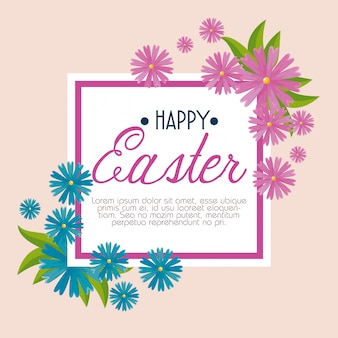 Happy easter celebration with flowers and leaves