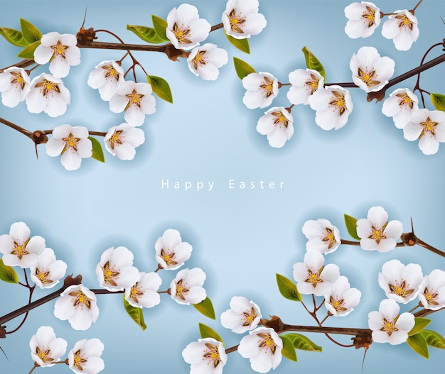Happy easter. cherry flowers background