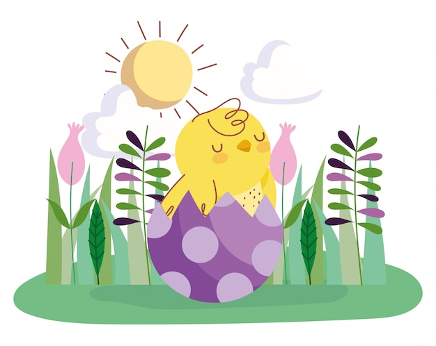 Happy easter chicken in eggshell flowers grass decoration