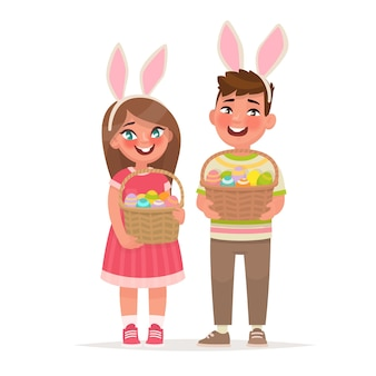 Happy easter. children with baskets full of eggs. a boy and a girl dressed in rabbit ears. design element. in cartoon style Premium Vector