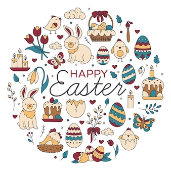 Happy easter circular set of icons in doodle style illustration