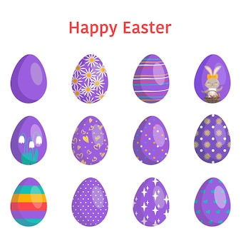 Happy easter. collection of eggs with different textures, patterns and festive decorations on a white background. spring holiday. vector flat illustration