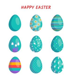 행복한 부활절. 흰색 배경에 다른 질감, 패턴 및 축제 장식이 있는 달걀 모음입니다. 봄 휴가. 벡터 평면 그림