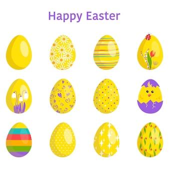흰색 바탕에 다양한 질감 패턴과 축제 장식이 있는 행복한 부활절 달걀 모음입니다.