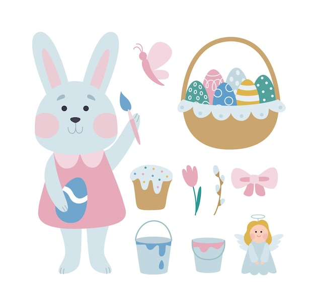 Happy easter. a collection of vector easter illustrations with a gray bunny girl coloring eggs. cute holiday