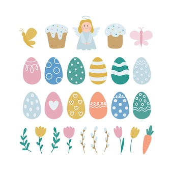 Happy easter.  collection of vector illustrations with colored eggs,angel, cake, spring plants.