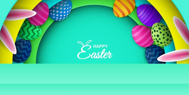 행복한 부활절. 다채로운 부활절 달걀과 토끼 귀