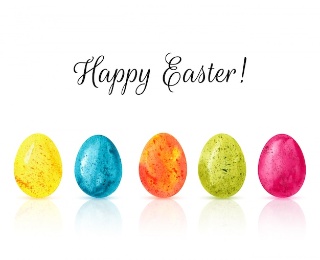 Happy easter colorful eggs background vector