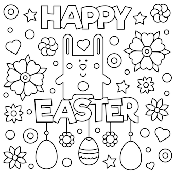 Happy easter. coloring page. vector illustration.