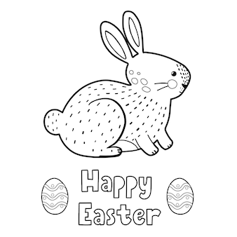 Happy easter coloring page with cute rabbit black