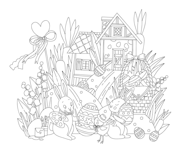 Happy easter coloring pages.