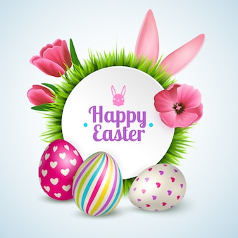 Happy easter composition with traditional symbols colorful eggs rabbit ears and spring flowers realistic