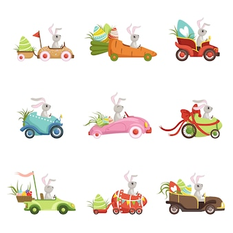 Happy easter concept cartoon illustrations on a white background