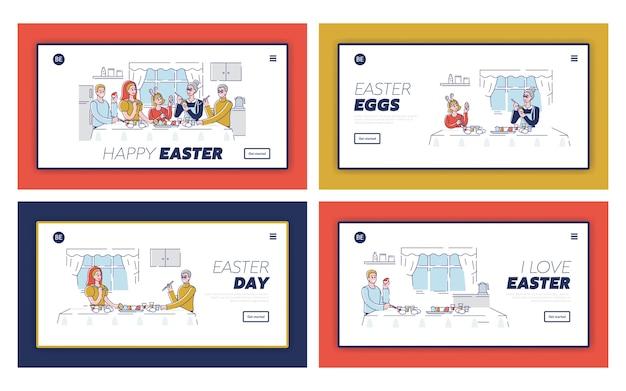 행복 한 부활절 개념입니다. 웹 사이트 방문 페이지. 부활절 달걀을 장식하고 휴가를 준비하는 행복한 사람들. cartoon outline linear flat s의 웹 사이트 방문 페이지 설정