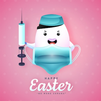 Happy easter concept with cartoon egg holding syringe and medical mask on pink background for no more corona.