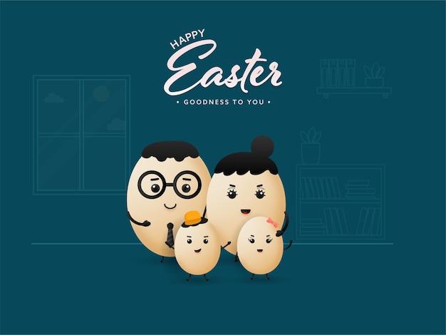 漫画の卵の家族とハッピーイースターのコンセプト