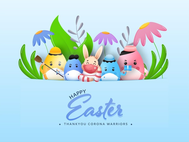 Happy easter concept with eggs and bunny in mask