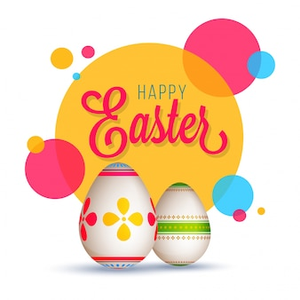 Happy easter concept with painted eggs
