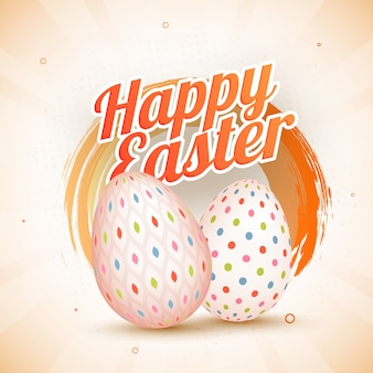 Happy easter concept with printed eggs on vintage background
