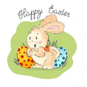 Happy easter congratulation card with happy cute little bunny and holiday eggs isolated on white textured background. hand drawn style. good for easter cards, children prints, clothes, gift tags etc.