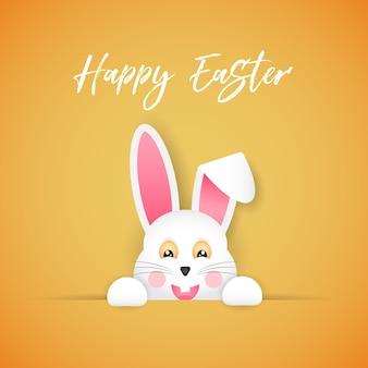 Happy easter. congratulatory poster. the easter bunny looks out of the hole. cartoon style.