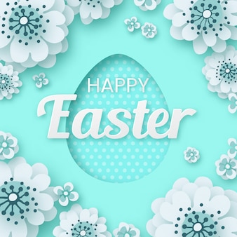 Happy easter, creative paper cut flower with egg frame on cyan, greeting card