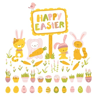 Happy easter. cute animal cats in costumes with rabbit ears. painted eggs, cupcakes, spring flowers, childish illustration in cartoon hand-drawn style.