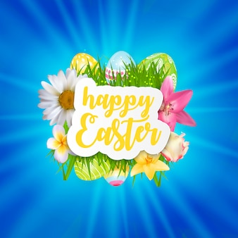 Happy easter cute banner with eggs.