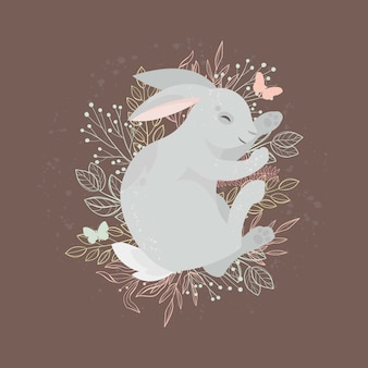 Happy easter. cute bunny rabbit. easter holiday concept.illustration.