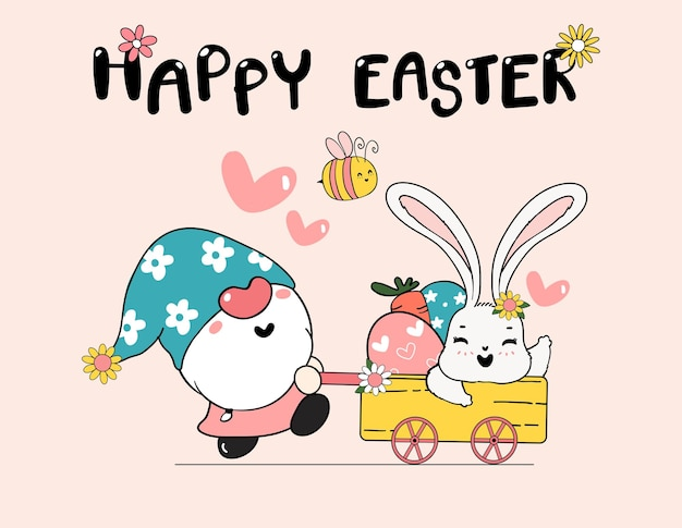 Happy  easter, cute cartoon doodle drawing illustration