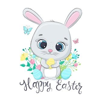 イースター、おめでとう。卵とかわいいイースターバニー。