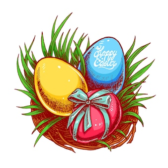Happy easter. cute easter nest with three different color eggs. hand-drawn illustration.
