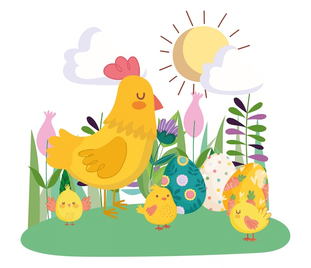 Happy easter cute hen and chickens with eggs flowers floral sun day