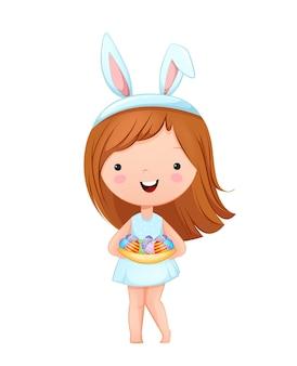 행복한 부활절. 토끼 귀를 입고 귀여운 소녀