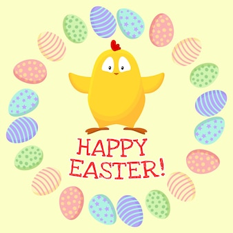 Happy easter. cute little yellow chicken in a wreath of easter eggs