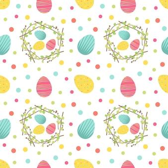 행복한 부활절 귀여운 프린트. 달걀, 화환, 점이 있는 축제 장식의 매끄러운 패턴입니다. 포장지, 인쇄용 요소입니다. 벡터 평면 그림