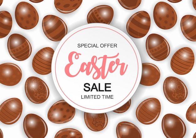 Happy easter cute sale banner with eggs.