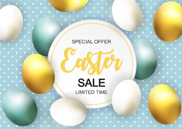 Happy easter cute sale banner with egs
