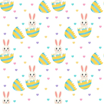 Happy easter cute seamless pattern of lovely rabbits