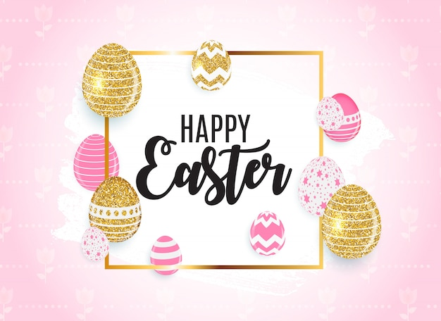 Happy easter cute with eggs greeting card