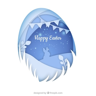 Happy easter day background in paper style