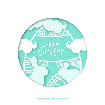 Happy easter day background in paper