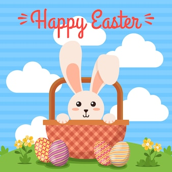 Happy easter day background with cute illustration