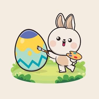 かわいいかわいいウサギのイラストとハッピーイースターの日の背景