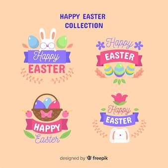 Happy easter day badge collection